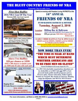 Friends of NRA Fundraising Banquet & Dinner @ Hilltop BAr & Ballroom