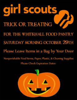 Girl Scouts Trick Or Treating for the Whitehall Food Pantry